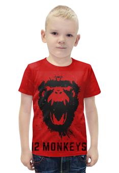 """Футболка с полной запечаткой для мальчиков """"12 обезьян"""" - кино, сериал, 12 обезьян"""