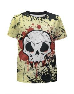 "Футболка с полной запечаткой для мальчиков ""Grunge Skull"" - skull, череп, гранж, хэллоуин, хардкор"