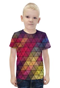 """Футболка с полной запечаткой для мальчиков """"Мозаика """" - мозаика, цвет, абстракция"""