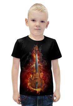 """Футболка с полной запечаткой для мальчиков """"Скрипка в огне"""" - арт, огонь, дизайн, скрипка, пламя"""