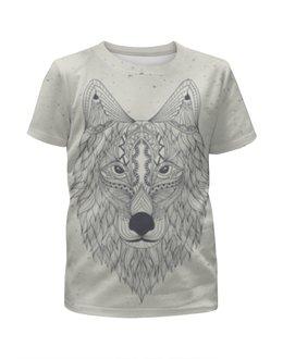 """Футболка с полной запечаткой для мальчиков """"Волк-шаман"""" - животные, узоры, шаман, волк, wolf"""