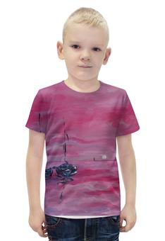 """Футболка с полной запечаткой для мальчиков """"розовый закат"""" - розовый, релакс, лодки, морская тема, подарочек"""