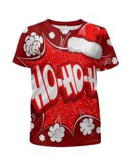 """Футболка с полной запечаткой для мальчиков """"Ho Ho Ho"""" - новый год, зима, красный, рождество, санта"""