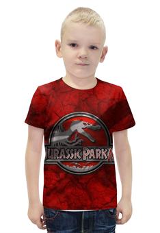"Футболка с полной запечаткой для мальчиков ""Jurassic Park"" - кино, фантастика, приключения, jurassic park, стивен спилберг"