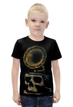 """Футболка с полной запечаткой для мальчиков """"Skull Art"""" - skull, череп, artwork, граммофон, арт дизайн"""