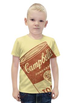 """Футболка с полной запечаткой для мальчиков """"Банка с супом Кэмпбелл"""" - арт, поп арт, энди уорхол, суп кэмпбелл, campbells soup can"""