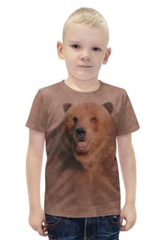"""Футболка с полной запечаткой для мальчиков """"Медведь"""" - медведь, мазки, животное, коричневый, бурый"""