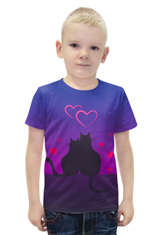"""Футболка с полной запечаткой для мальчиков """"Cat's desire. Парные футболки."""" - любовь, кошки, парные, ко дню влюбленных"""