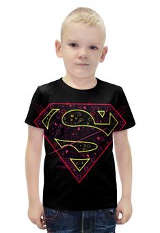 """Футболка с полной запечаткой для мальчиков """"Супермен"""" - надпись"""