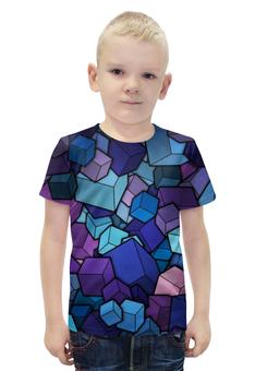 """Футболка с полной запечаткой для мальчиков """"КУБИКИ!!!"""" - необычно, краски, абстракция, кубики, измерение"""