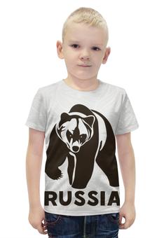"""Футболка с полной запечаткой для мальчиков """"Россия (Russia)"""" - bear, медведь"""