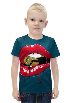 """Футболка с полной запечаткой для мальчиков """"Пуля во рту"""" - губы, рот, зубы, пуля, bullet"""