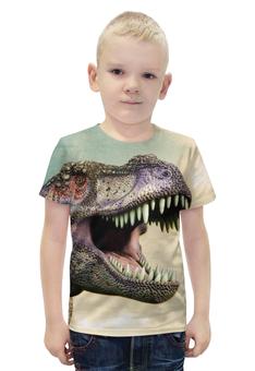 """Футболка с полной запечаткой для мальчиков """"Тиранозавр """" - арт, динозавр, тиранозавр"""