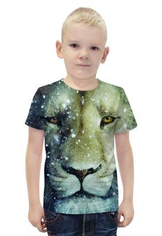 """Футболка с полной запечаткой для мальчиков """"Снежный Лев"""" - царь, животные, lion"""