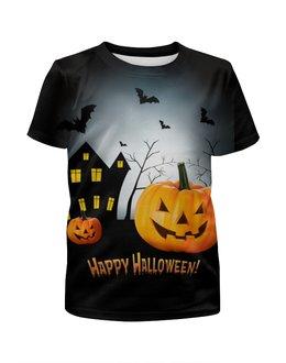 """Футболка с полной запечаткой для мальчиков """"Happy Halloween!"""" - тыква, хеллоуин, день всех святых, kinoart, киноарт"""
