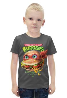 """Футболка с полной запечаткой для мальчиков """"Burgers """" - черепашка"""