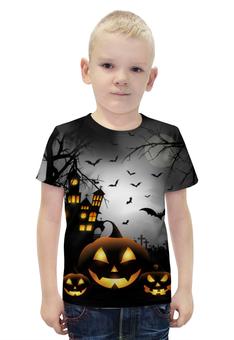 """Футболка с полной запечаткой для мальчиков """"Хэллоуинская ночь"""" - крест, тыква, привидения, хэллоуинская ночь, haunted house"""