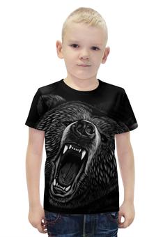 """Футболка с полной запечаткой для мальчиков """"Медведь"""" - животные, медведь, оскал, гризли"""