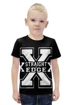 "Футболка с полной запечаткой для мальчиков ""Straight edge"" - hardcore, sxe, straight edge"