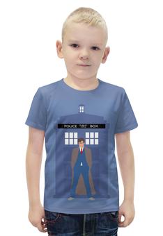"""Футболка с полной запечаткой для мальчиков """"Доктор Кто и ТАРДИС / Doctor Who & TARDIS"""" - doctor who, доктор кто, тардис, дэвид теннант, полицейская будка"""