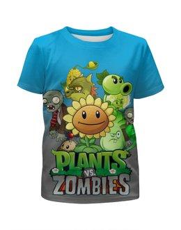"""Футболка с полной запечаткой для мальчиков """"Plants vs. Zombies"""" - зомби против растений"""