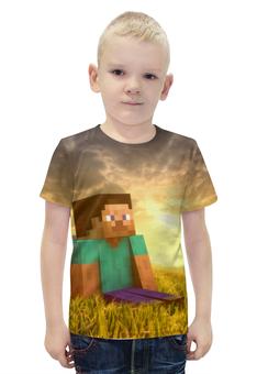 """Футболка с полной запечаткой для мальчиков """"Minecraft"""" - minecraft, майнкрафт, поле"""