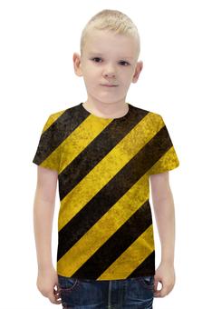 """Футболка с полной запечаткой для мальчиков """"Полосы"""" - чёрный, жёлтый, полосы, диагональ"""