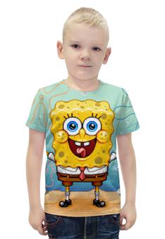 """Футболка с полной запечаткой для мальчиков """"Спанч Боб"""" - спанч боб, spongebob, spongebob squarepants, squarepants"""