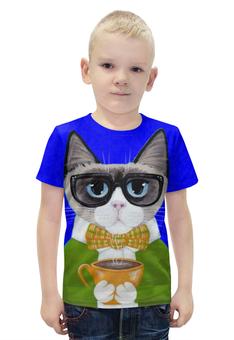 """Футболка с полной запечаткой для мальчиков """"СТИЛЬНЫЙ КОТ!!!"""" - кот, чашка, cat, чай, кофе"""