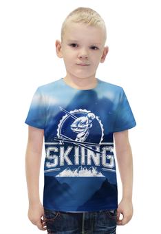 """Футболка с полной запечаткой для мальчиков """"Skiing"""" - спортсмен, горы, активный отдых, skiing, лыжник"""