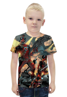 """Футболка с полной запечаткой для мальчиков """"Deadpool cartoon"""" - комиксы, marvel, deadpool, дэдпул"""