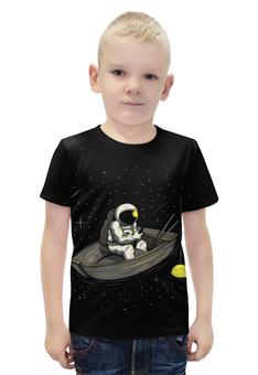 """Футболка с полной запечаткой для мальчиков """"Космическая рыбалка """" - пародия, космос, рыбалка"""