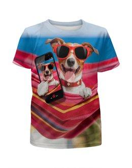 """Футболка с полной запечаткой для мальчиков """"Собака"""" - лето, солнце, собака, телефон, гамак"""