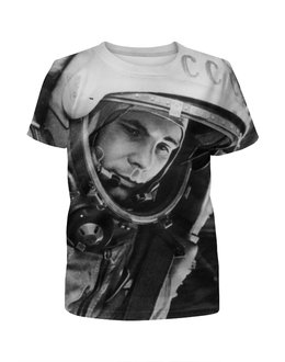 """Футболка с полной запечаткой для мальчиков """"Юрий Гагарин, космос"""" - ссср, космос, первый, космонавт, юрий гагарин"""