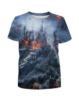 """Футболка с полной запечаткой для мальчиков """"Корабли"""" - война, море, огонь, самолет, корабль"""