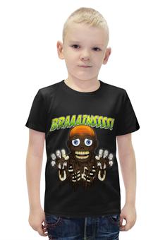 """Футболка с полной запечаткой для мальчиков """"Braaaaatnsssss!"""" - зомби, скелет"""