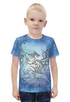 """Футболка с полной запечаткой для мальчиков """"Дракон-ветер"""" - авторские майки, дракон, графика, татуировка"""