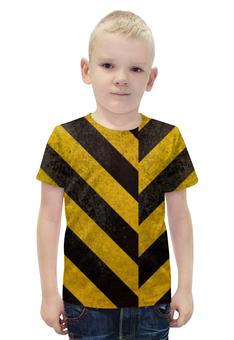 """Футболка с полной запечаткой для мальчиков """"Полосы 3"""" - чёрный, жёлтый, полосы, диагональ"""