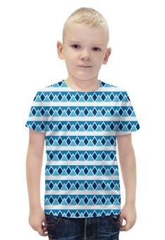 """Футболка с полной запечаткой для мальчиков """"Абстрактные голубые треугольники"""" - авторская майка, абстрактный, теугольник"""