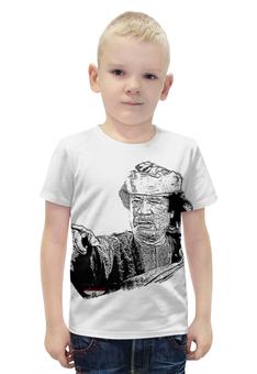"""Футболка с полной запечаткой для мальчиков """"Каддафи"""" - ливия, муаммар, с портретом каддафи, джамахирия"""