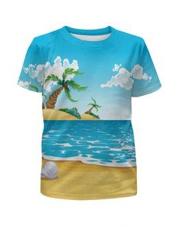 """Футболка с полной запечаткой для мальчиков """"Летний отдых"""" - лето, море, пляж, пальмы"""