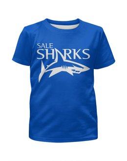 """Футболка с полной запечаткой для мальчиков """"Сейл Шаркс"""" - спорт, регби, англия, акула"""