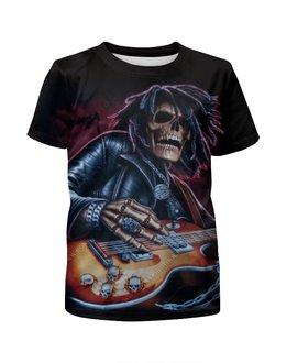 """Футболка с полной запечаткой для мальчиков """"Скелет с гитарой"""" - черепа, скелеты, рок и метал"""