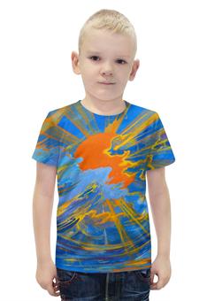 """Футболка с полной запечаткой для мальчиков """"Солнце"""" - солнце, небо, облака, голубое, оранжевое"""