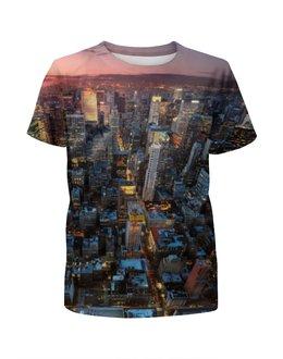 """Футболка с полной запечаткой для мальчиков """"Нью-Йорк"""" - new york, ночной город, нью йорк"""