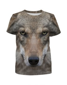 """Футболка с полной запечаткой для мальчиков """"WOLF  """" - хищник, зверь, волк, wolf"""