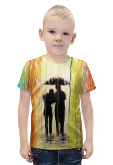 """Футболка с полной запечаткой для мальчиков """"Абстракция"""" - рисунок, дождь, краски, абстракция, арт дизайн"""