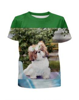 """Футболка с полной запечаткой для мальчиков """"Beautiful friend of the dog"""" - животные, собачка, футболка с собакой, собака ши-тцу, футболка с ши-тцу"""