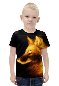 """Футболка с полной запечаткой для мальчиков """"огненный волк"""" - огонь, волк, огненный волк"""