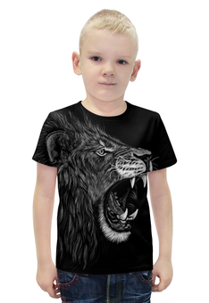 """Футболка с полной запечаткой для мальчиков """"Львиный оскал"""" - животные, лев, оскал"""